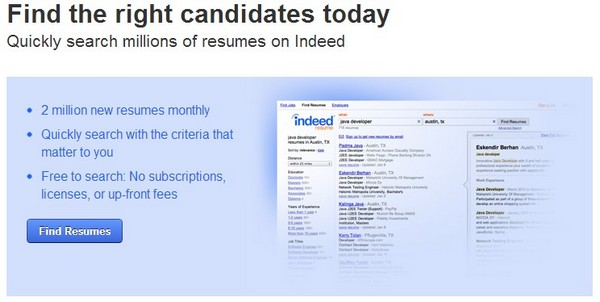 indeed for employers is for employers to post a job application and find resumes
